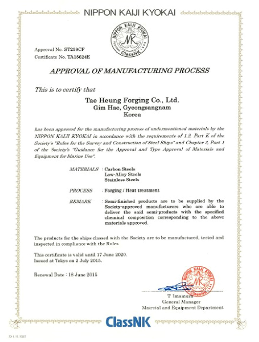 Approval of Manufacturing Process